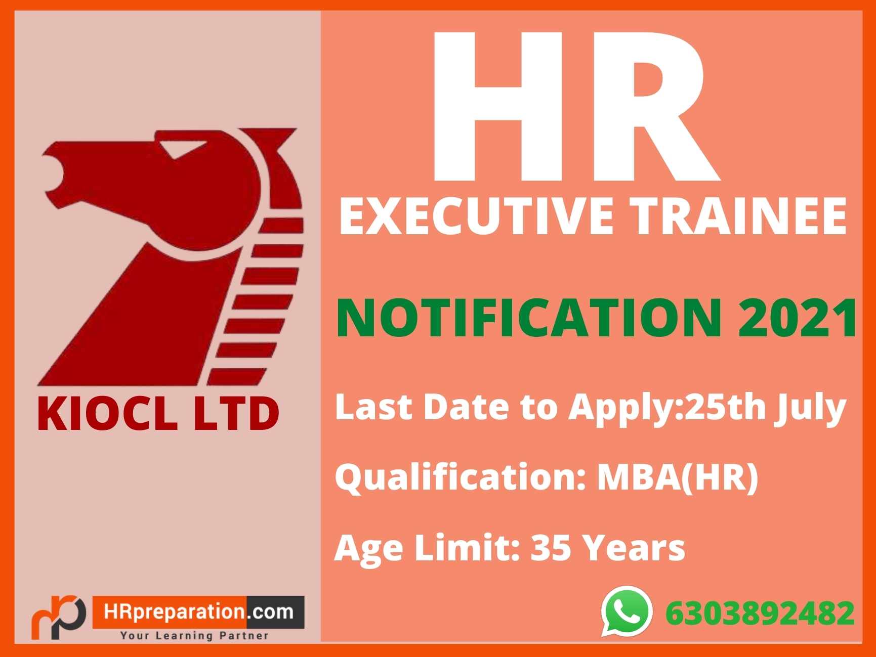 KIOCL HR Executive Trainee Notification 2021 out ,KIOCL HR Recruitment Notification apply now