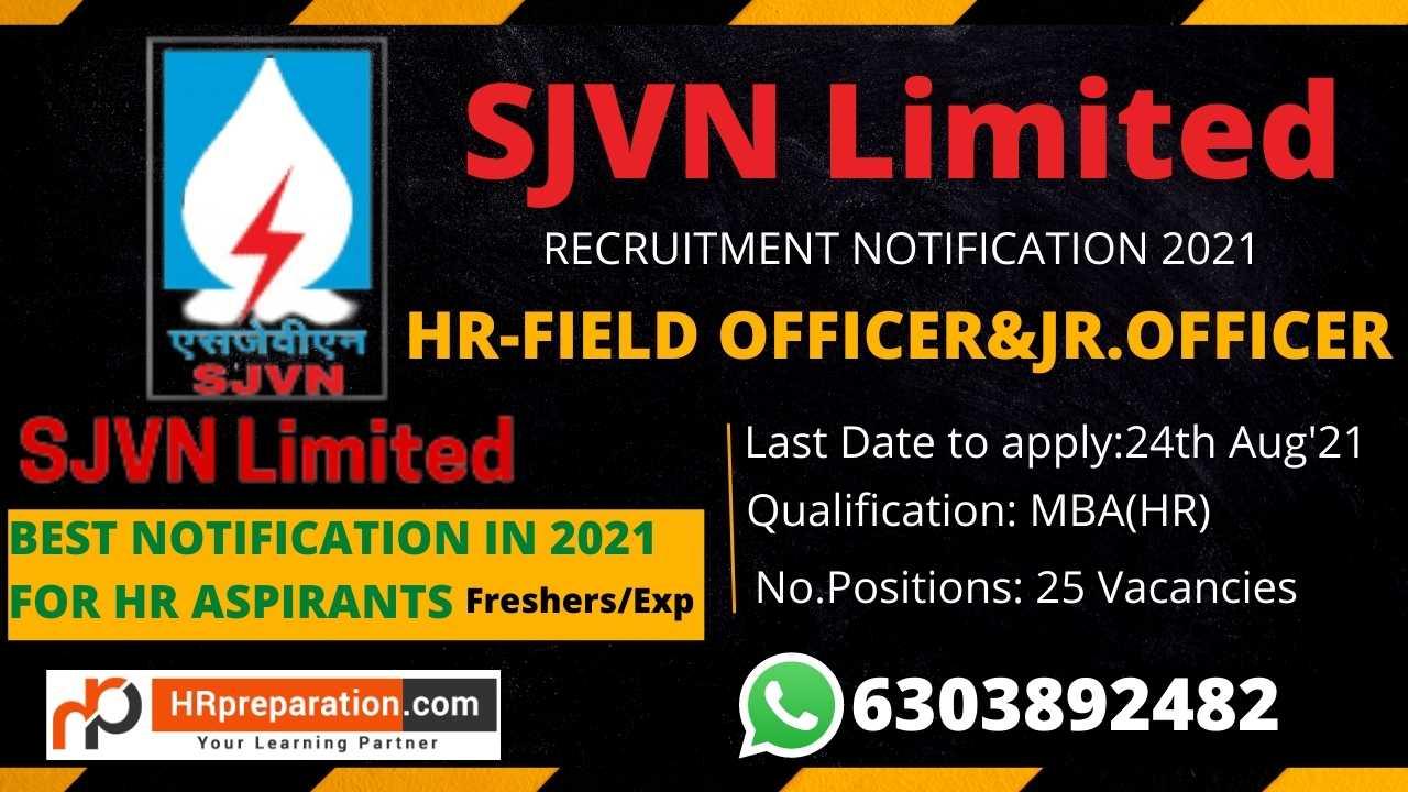 sjvn hr field officer and junior officer recruitment notification