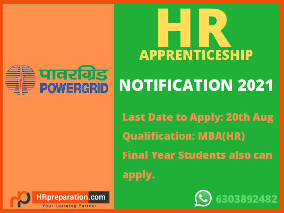 Powergrid released notification for engageing apprentieship HR for 2021