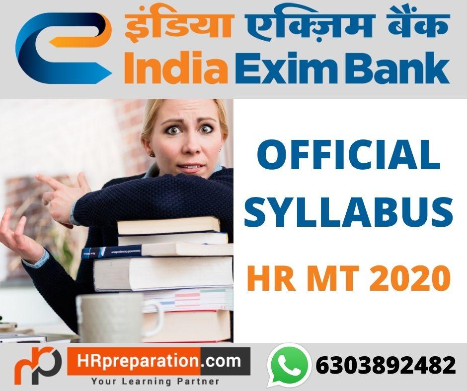 exim bank hr mt 2020 syllabus and exam pattern